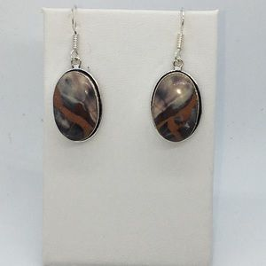 Porcelain Jasper Silver Earrings